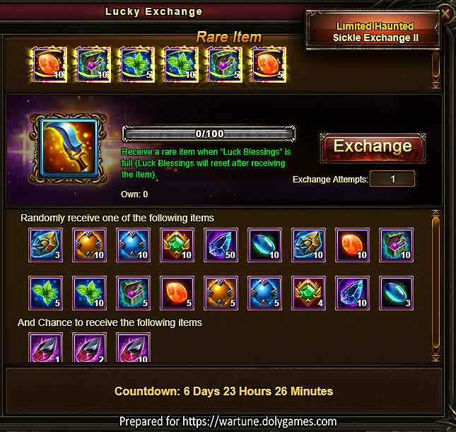 Limited Haunted Sickle Exchange Wartune Events 25 MAY 2018