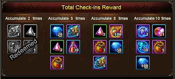 Daily Checkin Rewards before Wartune Patch 8.0
