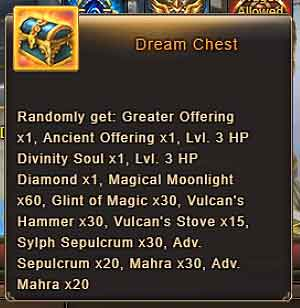 EMERALDIA Dream Chest rewards - Wartune Patch 8.0