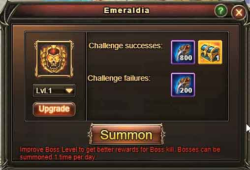 EMERALDIA Level 1 rewards - Wartune Patch 8.0
