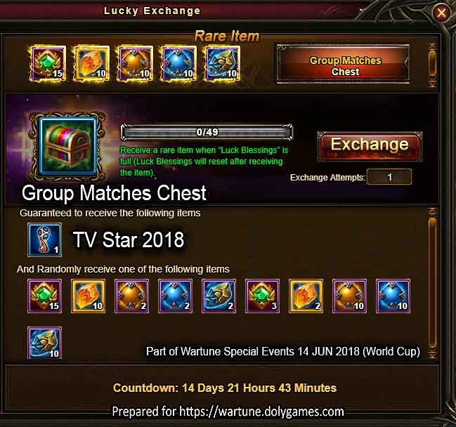 Lucky Exchange Group Matches Chest Wartune Events
