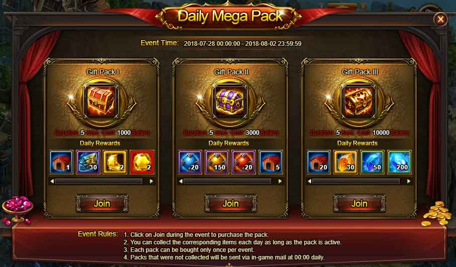 Daily Mega Pack Wartune Events 28 JUL 2018