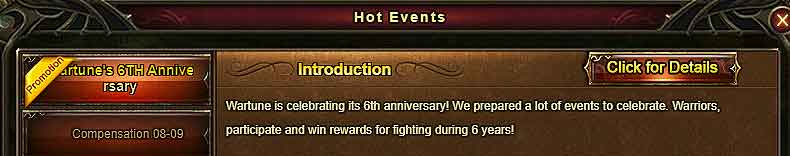 How to collect SPECIAL CODE Rewards for Wartune's 6th Anniversary