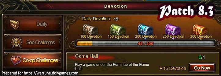 Wartune Patch 8.3 Game Hall Devotion