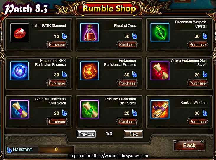Wartune Patch 8.3 League Rumble Shop 1