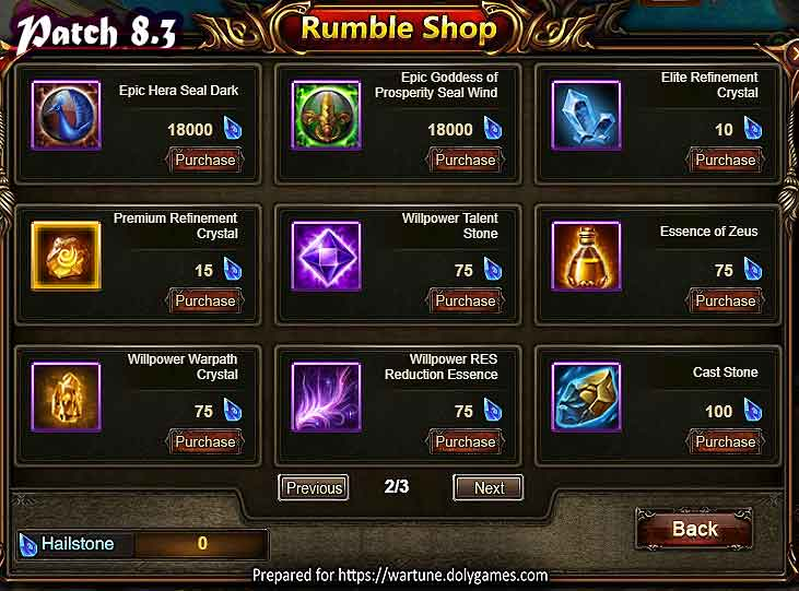 Wartune Patch 8.3 League Rumble Shop 2