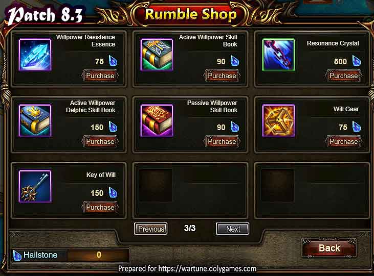 Wartune Patch 8.3 League Rumble Shop 3