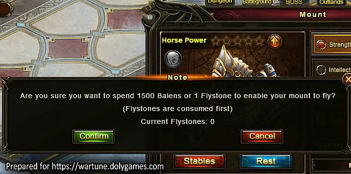Flying mounts for 1500 balens Flystone Wartune Patch 8.5