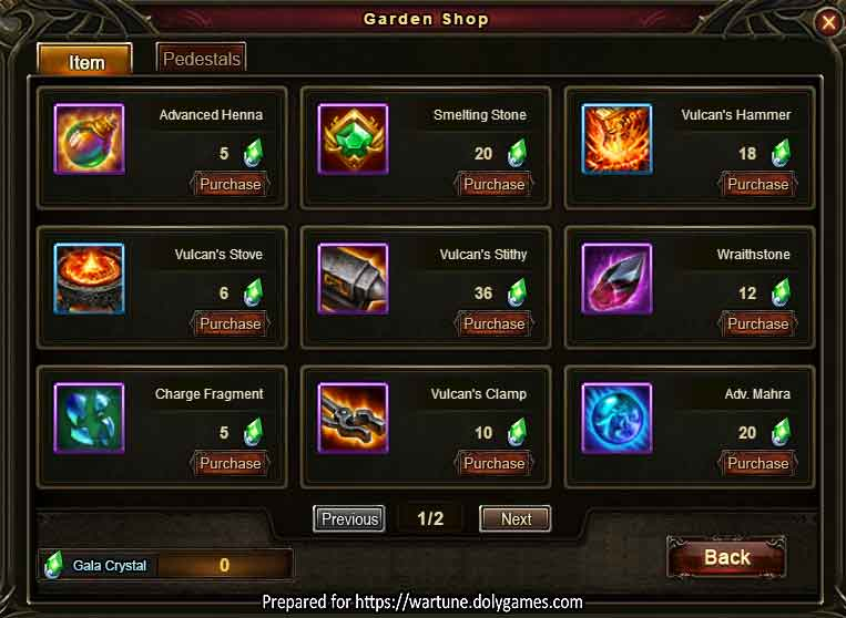 Sky Garden Shop page 1 Wartune Patch 8.5